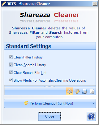 Config Screen for Shareaza Cleaner